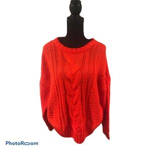 One A Petite Cable Knit Pullover Sweater LP